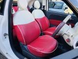 シートカバーの下、元のシートも赤/白のカラーリングのファブリックシートです