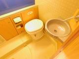 広々していて実用も可能なレストルーム! カセット引き出し式トイレ 洗面台